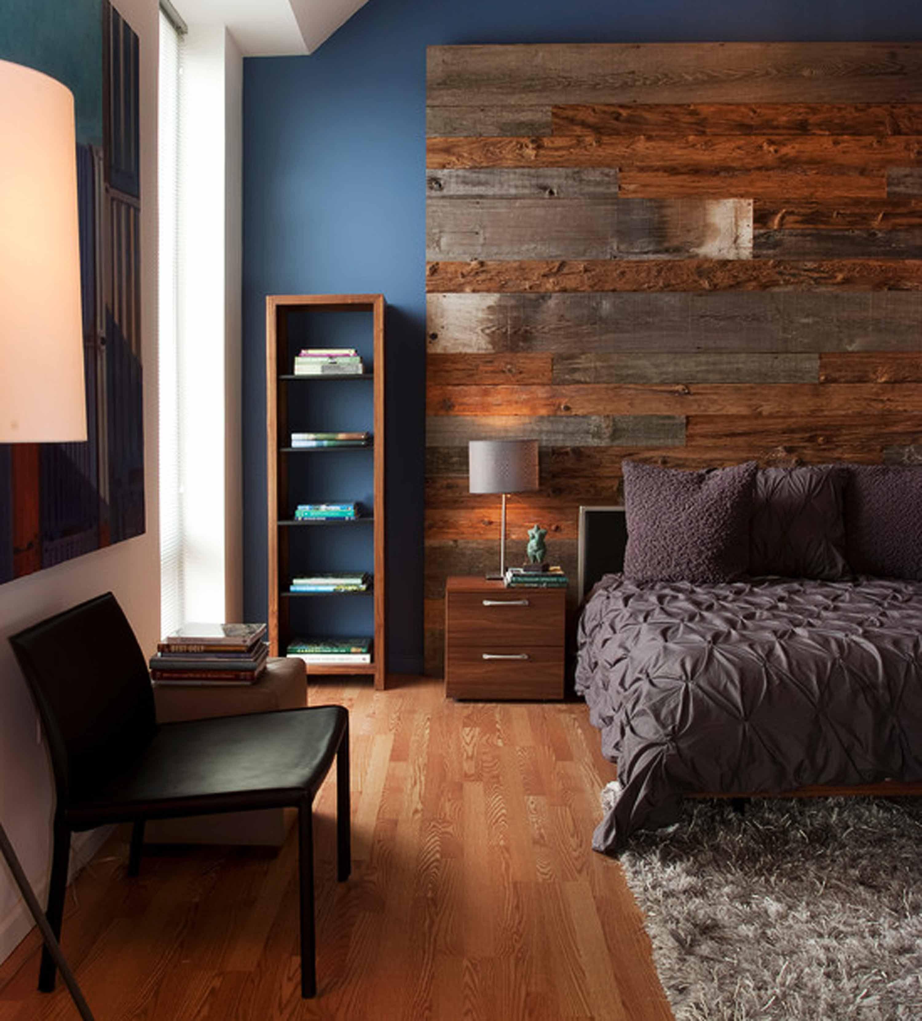 Brown and blue rustic bedroom - Contemporary Bedroom Blue Wall Paint Rustic Wood Headboard Brown Bedlinen Pillows Desklamp Nightstand Chair Bench Book Rack Cherry Wooden Laminate Flooring
